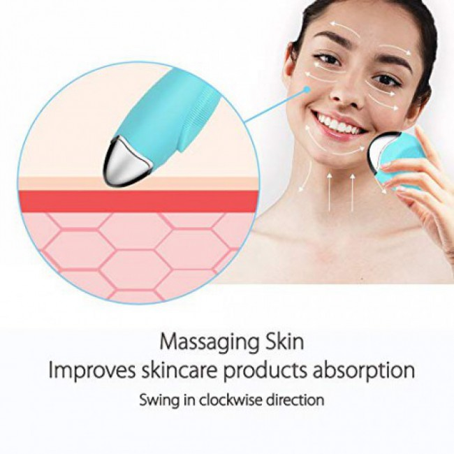 Wireless Charging Sonic Vibration Skin Pore Facial Cleaning Brush Massager